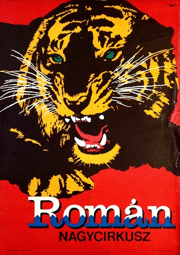 Romanian grand circus tiger cyrk original vintage hungarian hungary budapest poster posters gallery