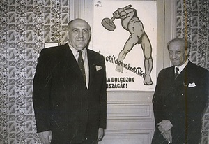 Mihály Bíró and his model for the red-hammer-wielding man in 1947