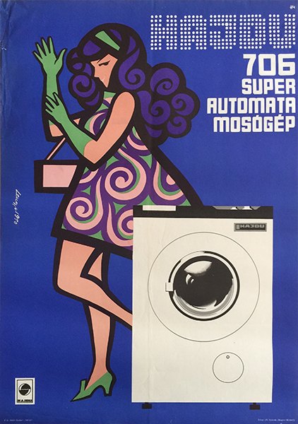 3. hajdu washing machine vintage poster retro fashion
