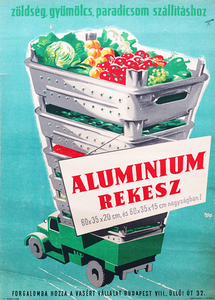 Aluminum crates for transporting vegetables, fruits, tomatoes