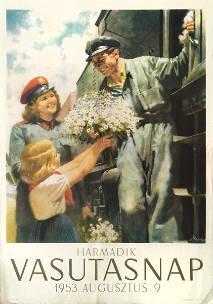 Szilas third railwaymens day 1953 socialist realist poster
