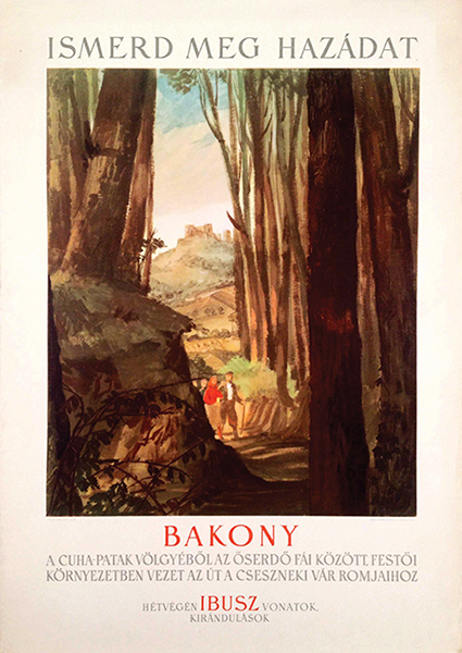 Discover your country bakony vintage travel poster
