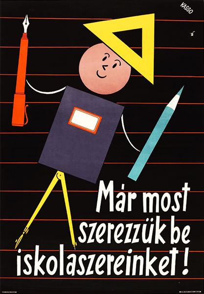 Kasso   buy school equipment now vintage poster hungarian
