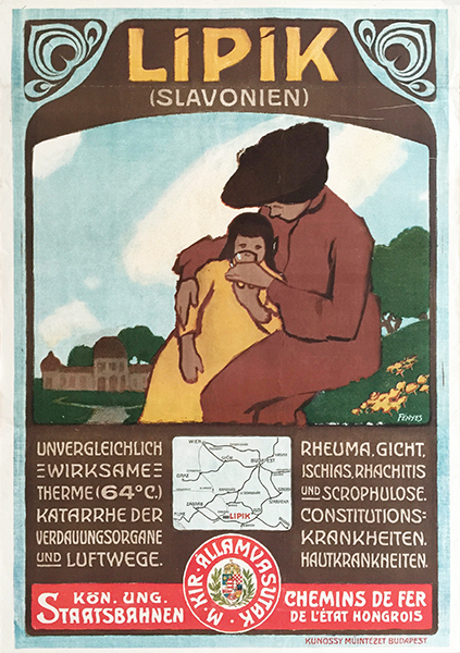 Fenyes adolf   lipik slavonien thermal bath poster 1906 w
