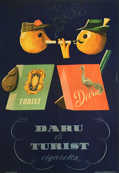 Daru and tourist cigarettes hungarian vintage poster