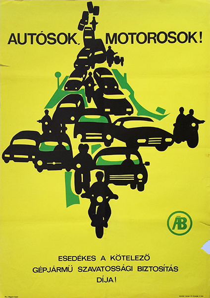 5. vehicle car motorcycle insurance vintage hungarian poster 1968
