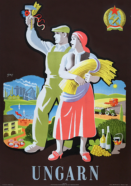 27. gonczi gebhardt   hungary communist travel poster 1950