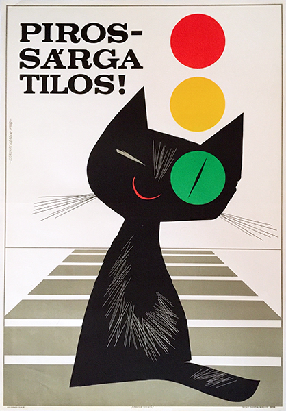 39. lengyel sandor   red   yellow means stop hungarian safety poster 1968