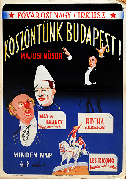 42. municipal grand circus   greetings budapest hungarian poster 1950