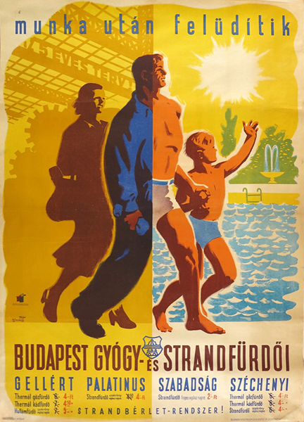 53. fejes macskassy budapest spas refresh you after work 1949 hungarian poster