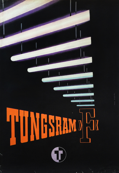 Pal Gabor - Tungsram F fluorescent tubes 1953 Hungarian export advertising poster
