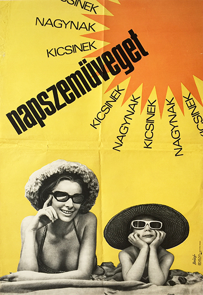 76. bano endre sunglasses for kids and adults 1968 hungarian poster