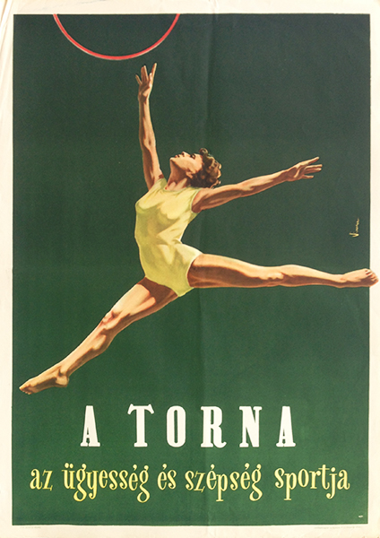 Gymnastics   the sport of skill and beauty original hungarian vintage poster