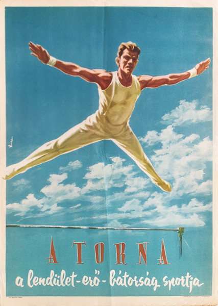 Gymnastics   the sport of dynamism  strength and courage original vintage hungarian poster
