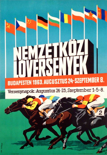 106. pal gyorgy international horse races 1963 budapest hungarian vintage poster