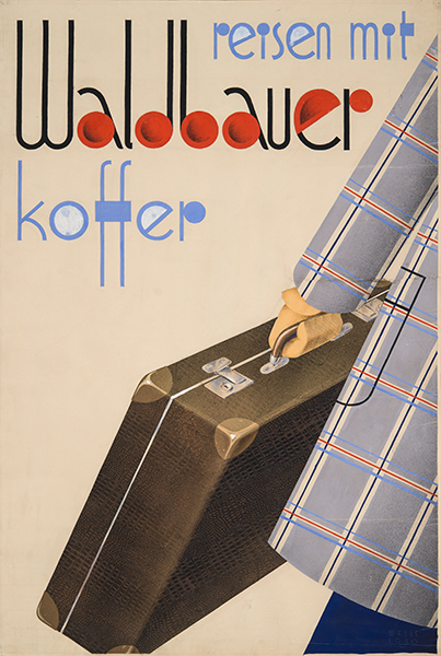 Pal Vince - Travel with Waldbauer suitcase koffer 1930 Hungarian Modernist poster original artwork