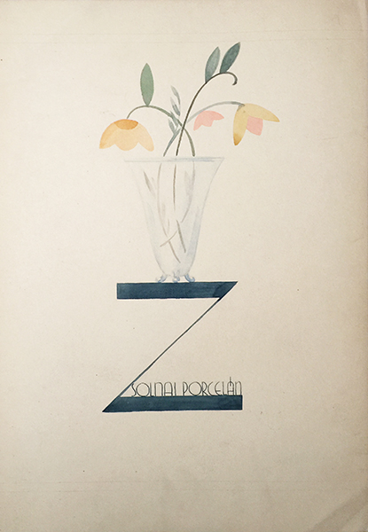 Art deco zsolnay porcelain advertising design