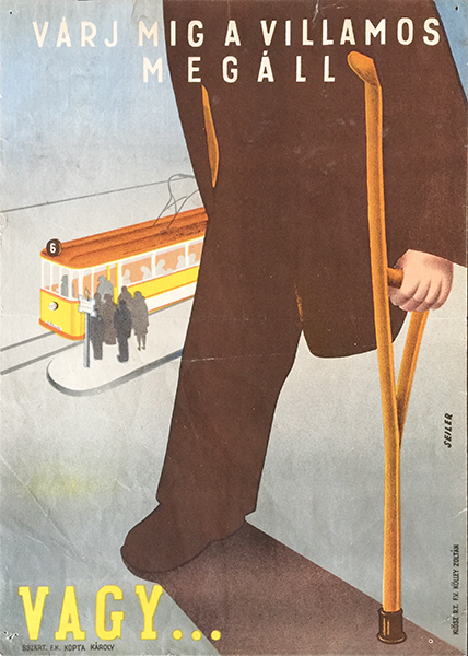 Seiler   wait until the tram stops or... 1947 hungarian travel safety poster