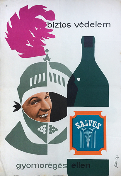 Gyozo szilas   salvus mineral water sure protection against heartburn 1964 hungarian poster