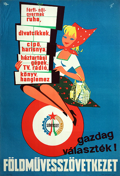 Janos macskassy   a wide selection is available at the cooperative stores 1960s hungarian poster