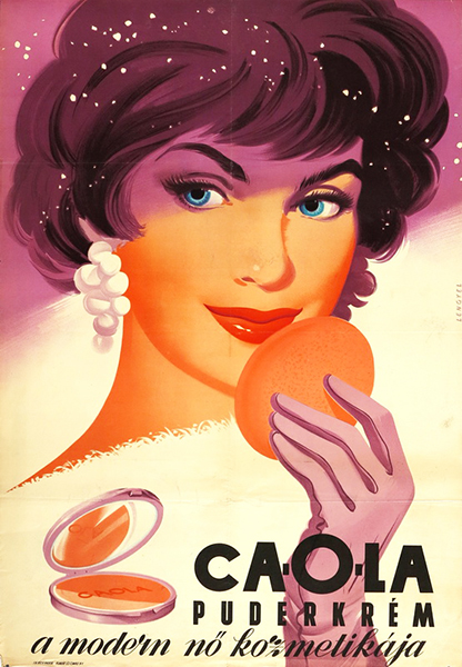 Sandor lengyel   caola cream to powder foundation 1960 hungarian cosmetics poster