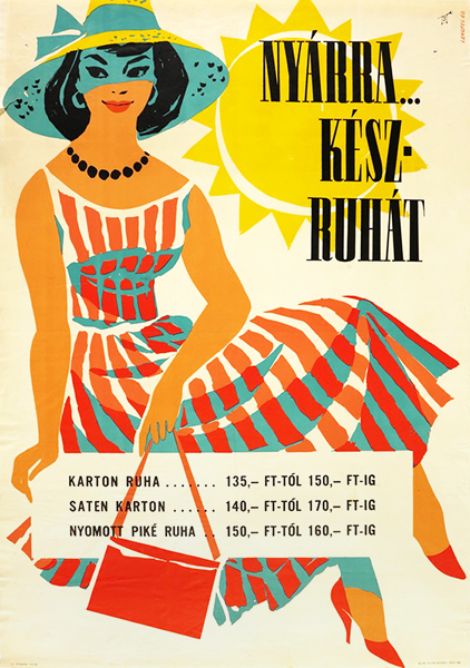Sandor lengyel   ready made garments for summer 1960 hungarian poster