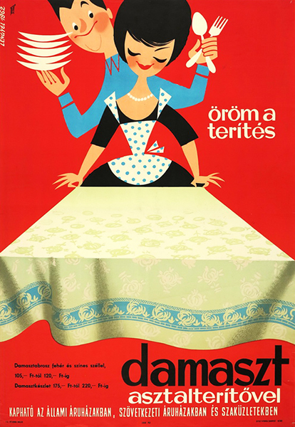 Sandor lengyel   setting the table is a pleasure with a damask tablecloth 1962 hungarian poster
