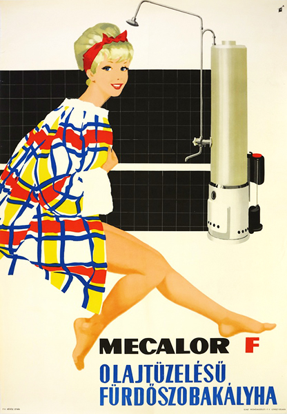 Gyozo szilas   mecalor f oil fired bathroom stove 1962 hungarian poster