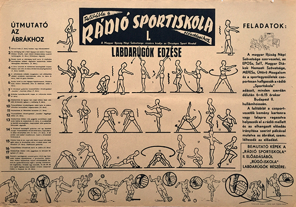 Sport school of the radio   training for soccer players 1950s hungarian sport poster 1