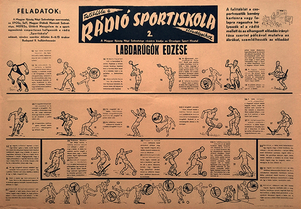 Sport school of the radio   training for soccer players 1950s hungarian sport poster 2