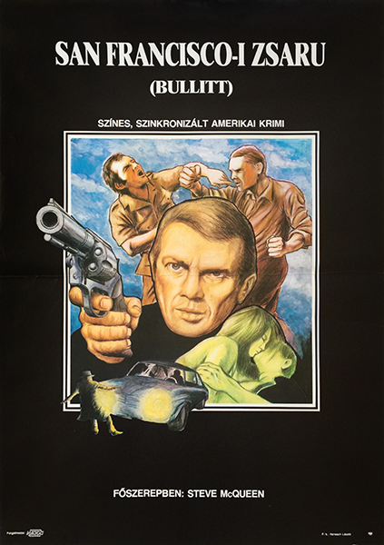 bullitt steve mcqueen 1989 first release hungarian movie poster