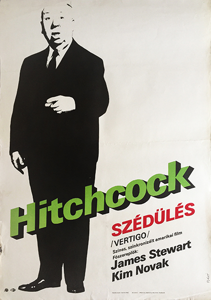 endre ba%cc%81no%cc%81   hitchcock vertigo 1985 first release hungarian movie poster