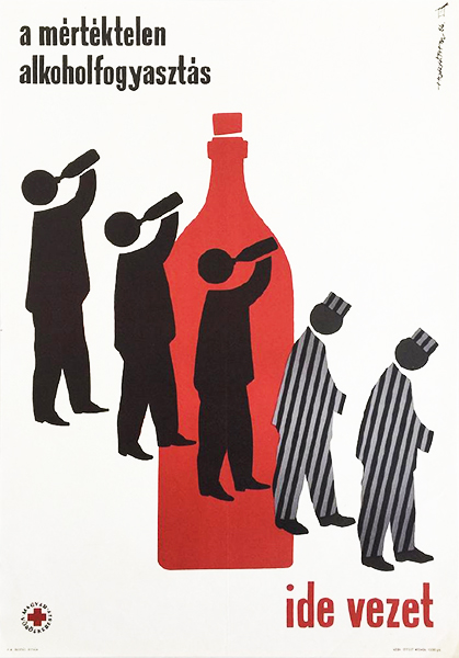 Horva%cc%81th m   excessive alcohol consumption leads here 1964 original hungarian anti alcohol propaganda poster