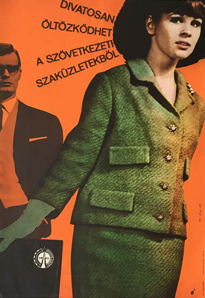 Dress fashionably 1965 original hungarian commercial fashion poster