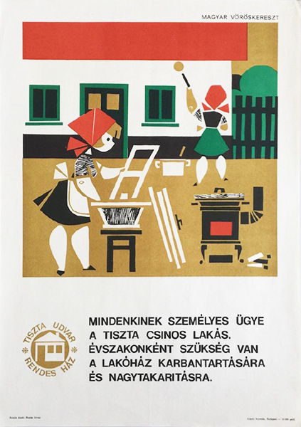Vajda lajos   a clean and pretty apartment is a personal matter for all of us 1965 original hungarian propaganda poster copy