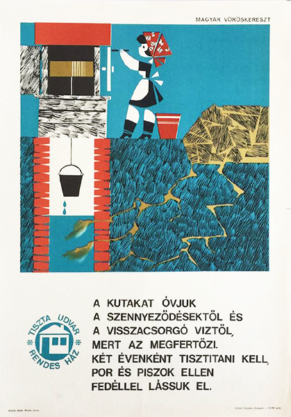 Vajda lajos   protect the wells from contamination 1965 original hungarian propaganda poster copy