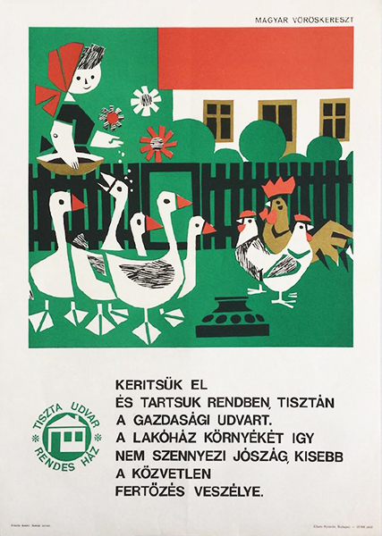 Vajda lajos   cordon off and keep the farmyard clean 1965 original hungarian propaganda poster