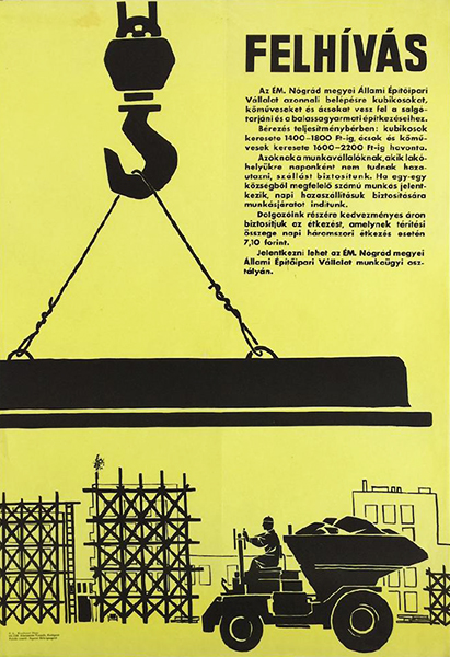 Announcement of the construction company 1964 original hungarian poster