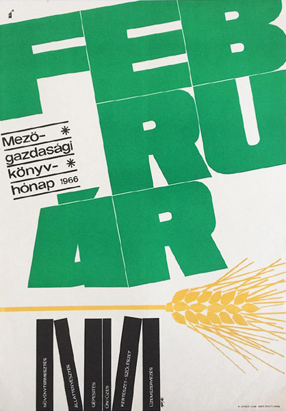 Ga%cc%81l ma%cc%81tya%cc%81s   agricultural book month february 1966 original hungarian event poster