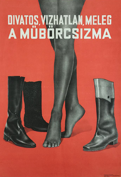 Faux leather shoes 1967 original hungarian fashion poster