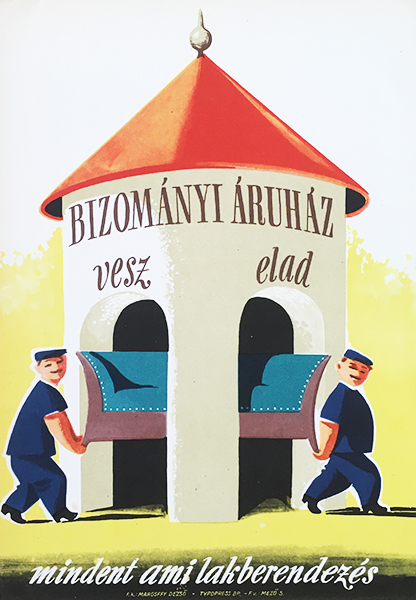 Commission shop 1960s original hungarian vintage commercial poster