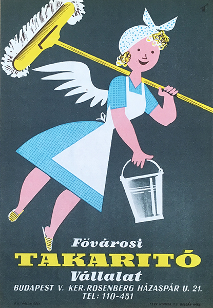 Capital cleaning company 1967 original hungarian vintage commercial poster