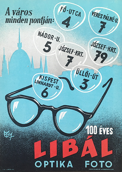 Macska%cc%81ssy  ja%cc%81nos   100 years old liba%cc%81l   optica  photo 1960s original hungarian vintage commercial poster