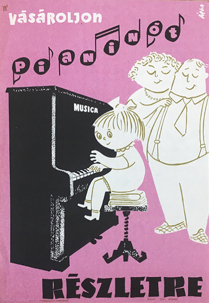 A%cc%81gas  ervin   buy upright piano in installments 1960 original hungarian vintage commercial poster