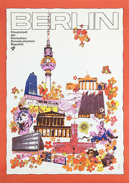 Berlin 1970s original german vintage travel poster