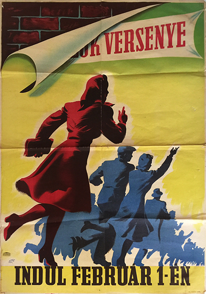 Macskassy and fejes   competition of brigades 1950s hungarian communist propaganda poster
