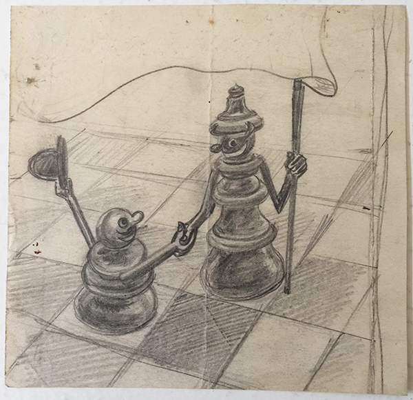 Istvan rottler   art deco chess sketch 1930s 1940s hungarian artwork
