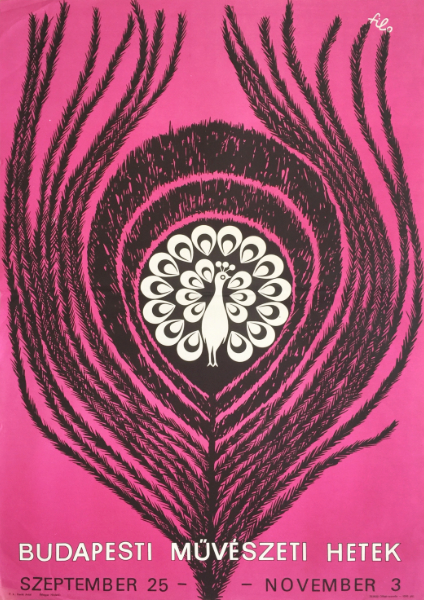 0. filo   budapest art weeks 1970 hungarian vintage poster peacock pink