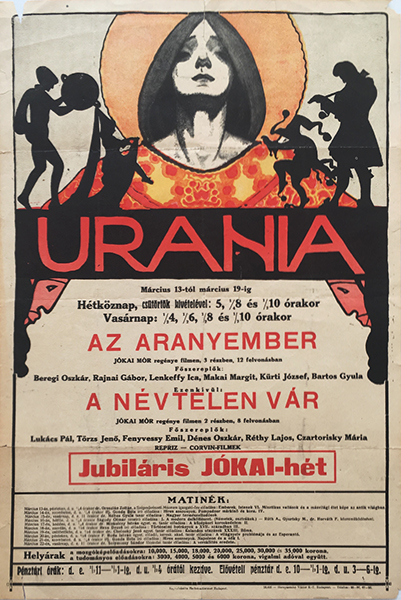 Urania 1920 original hungarian vintage movie poster