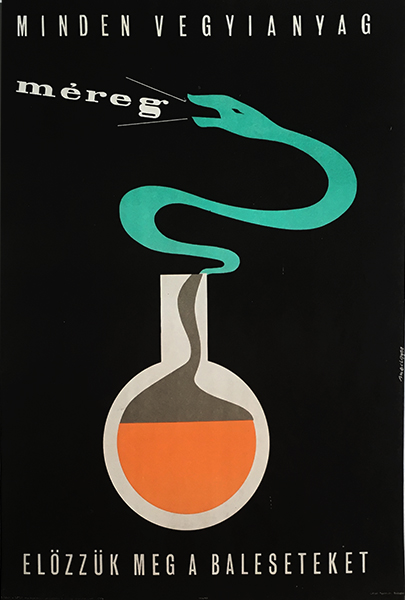 Medgyes   all chemicals are poison 1960s original hungarian safety propaganda poster